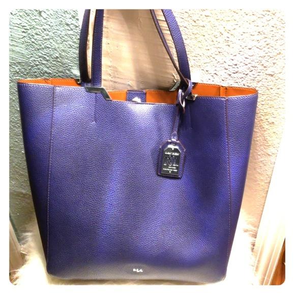 913ee37e0bad RALPH LAUREN deep purple blue tote. M 5bb8d9819539f7e3a923d8a4
